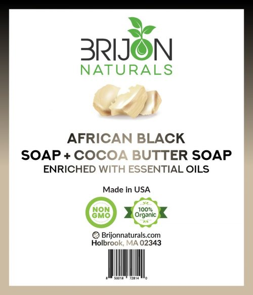 Brijon Naturals African Black Soap + Cocoa Butter Soap